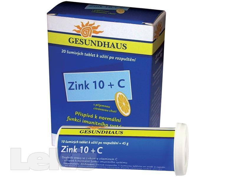 ZINK 10 + C ŠUMIVÉ TABLETY 2X10KS GESUNDHAUS